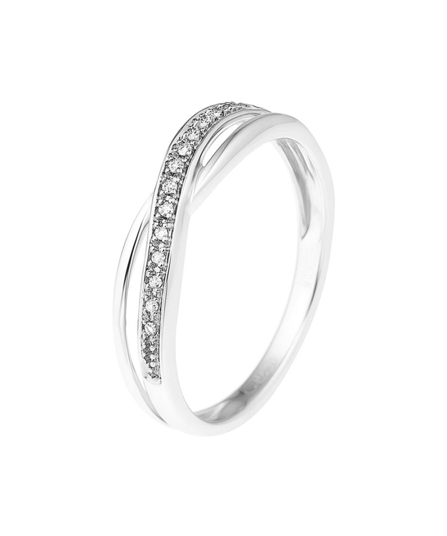 Image for DIADEMA - Ring - Crossed - Diamonds - White Gold