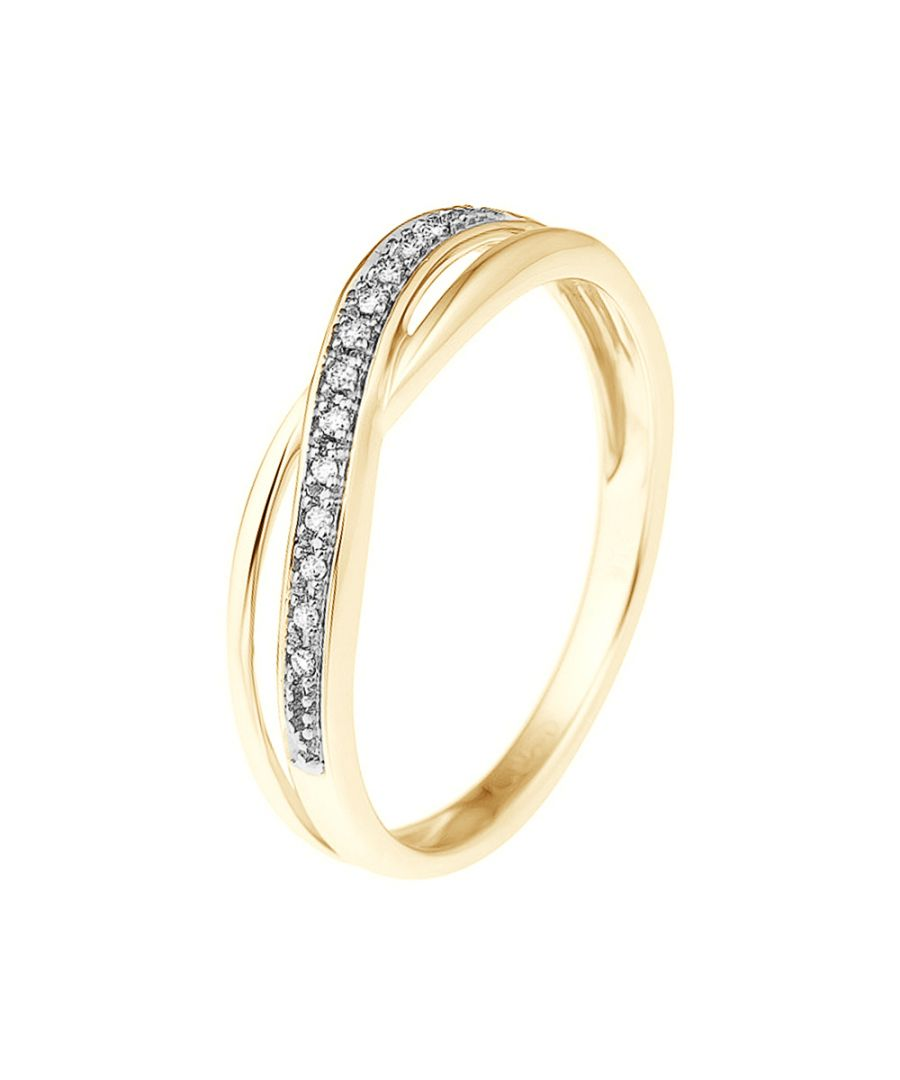 Image for DIADEMA - Ring - Crossed - Diamonds - Yellow Gold