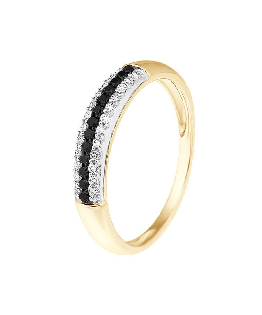 Image for DIADEMA - Ring - Prestige Diamonds White and Black - Yellow Gold