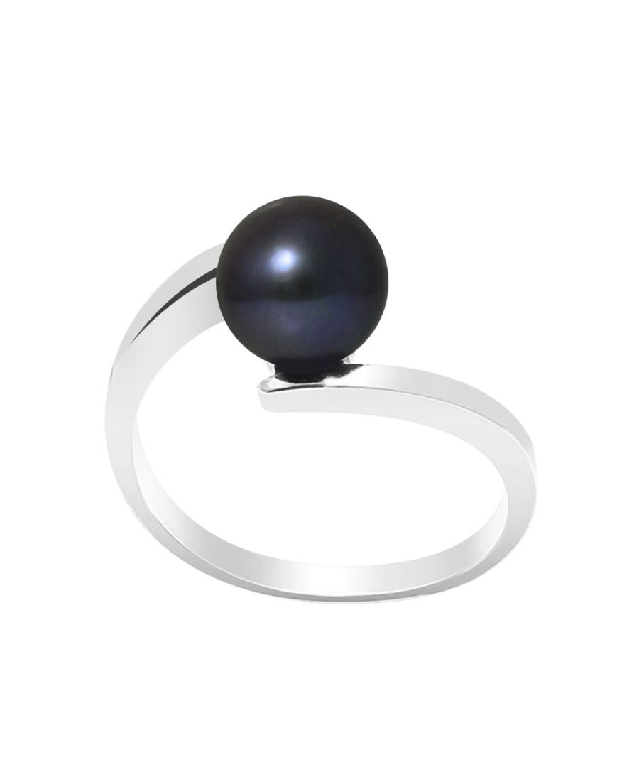Image for DIADEMA - Ring CROSS Real Freshwater Pearls - Black Tahitian Style