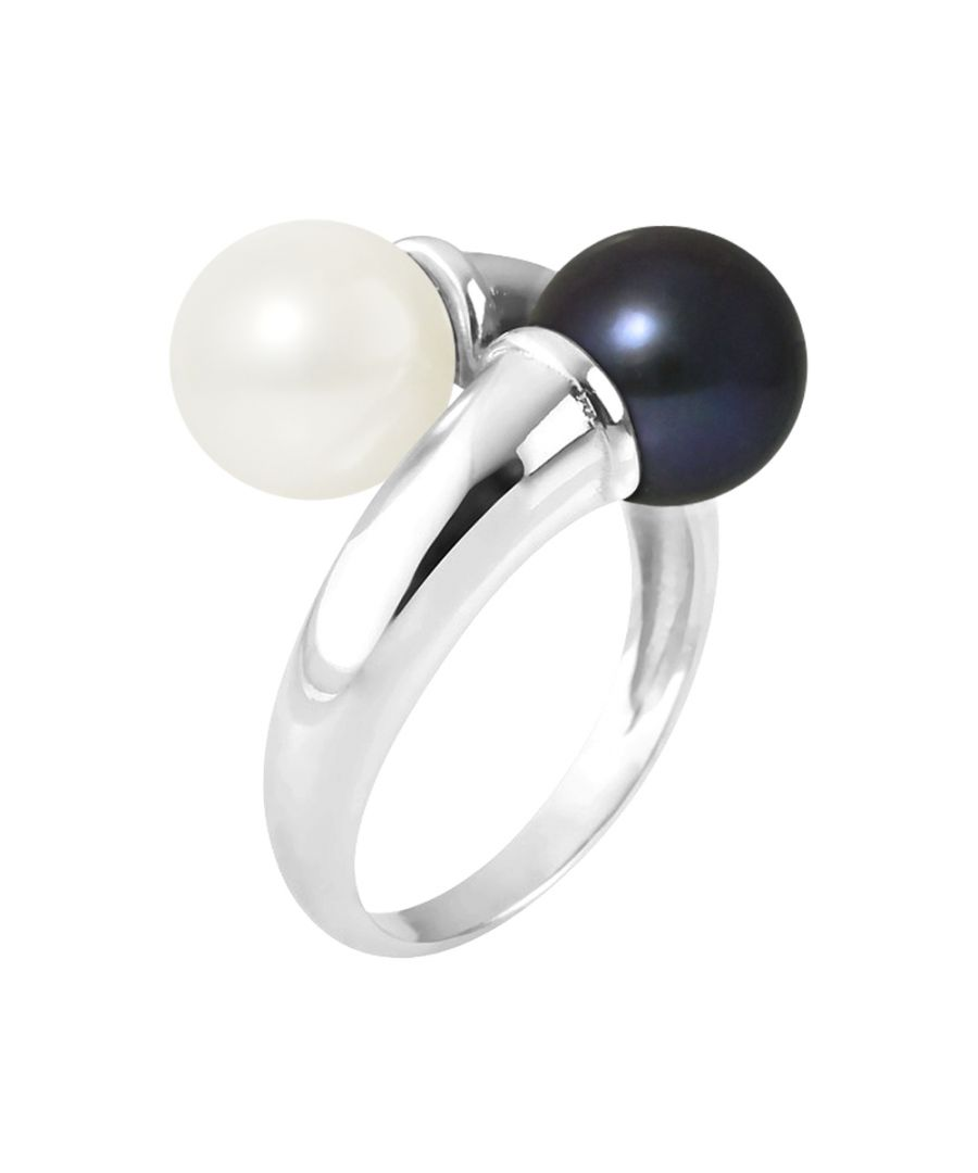 Image for DIADEMA - Ring You & Me - 2 Real Freshwater Pearls White and Black