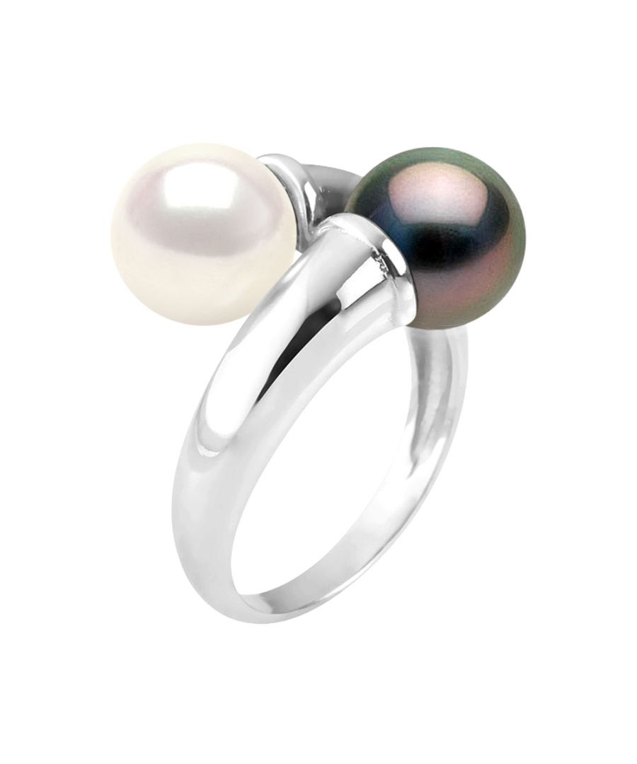Image for DIADEMA - Ring You & Me - Real Freshwater Pearls and Tahitian Pearls - White