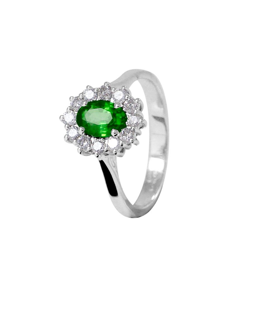 Image for DIADEMA - Ring - Emerald surrounded by Diamonds - White Gold