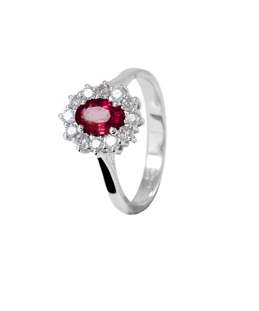 Image for DIADEMA - Ring - Ruby surrounded by Diamonds - White Gold