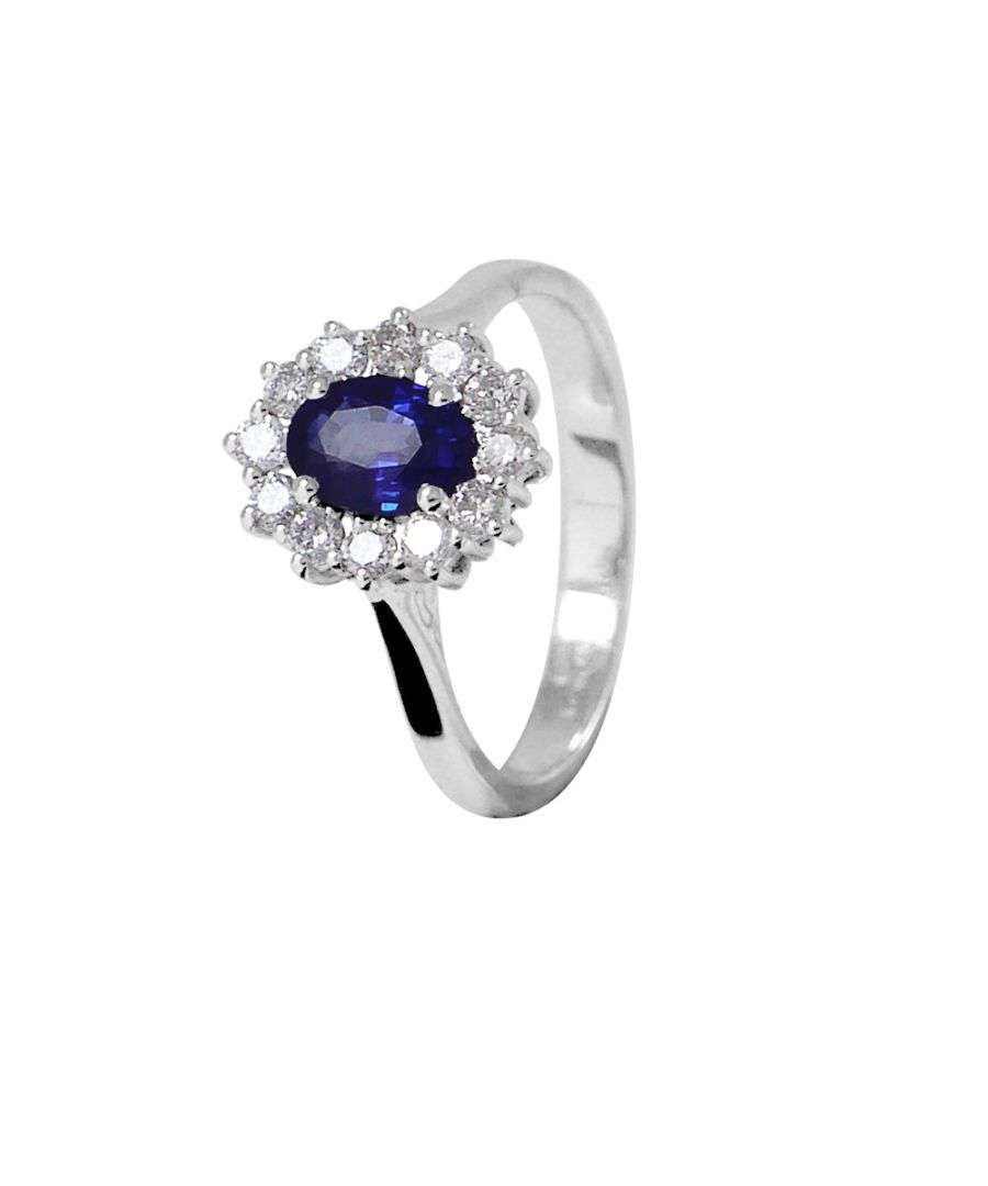 Image for DIADEMA - Ring - Sapphire surrounded by Diamonds - White Gold