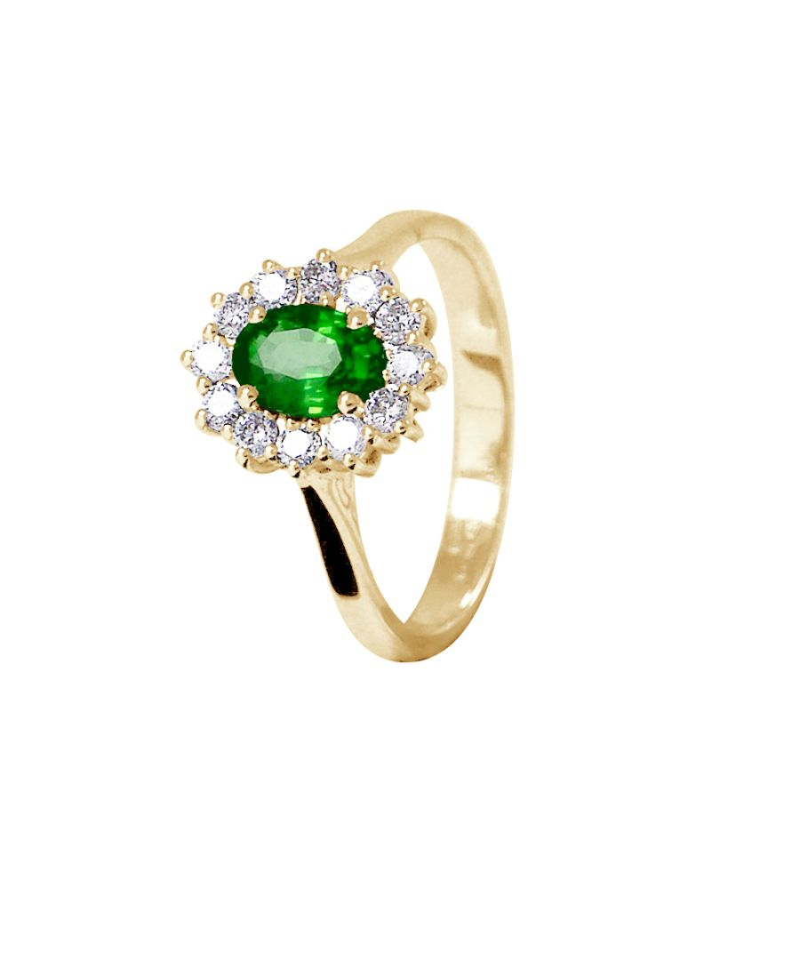 Image for DIADEMA - Ring - Emerald surrounded by Diamonds - Yellow Gold