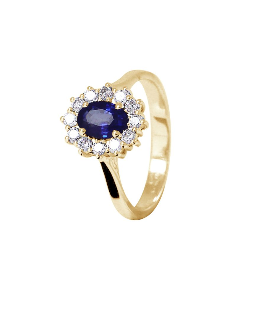 Image for DIADEMA - Ring - Sapphire surrounded by Diamonds - Yellow Gold