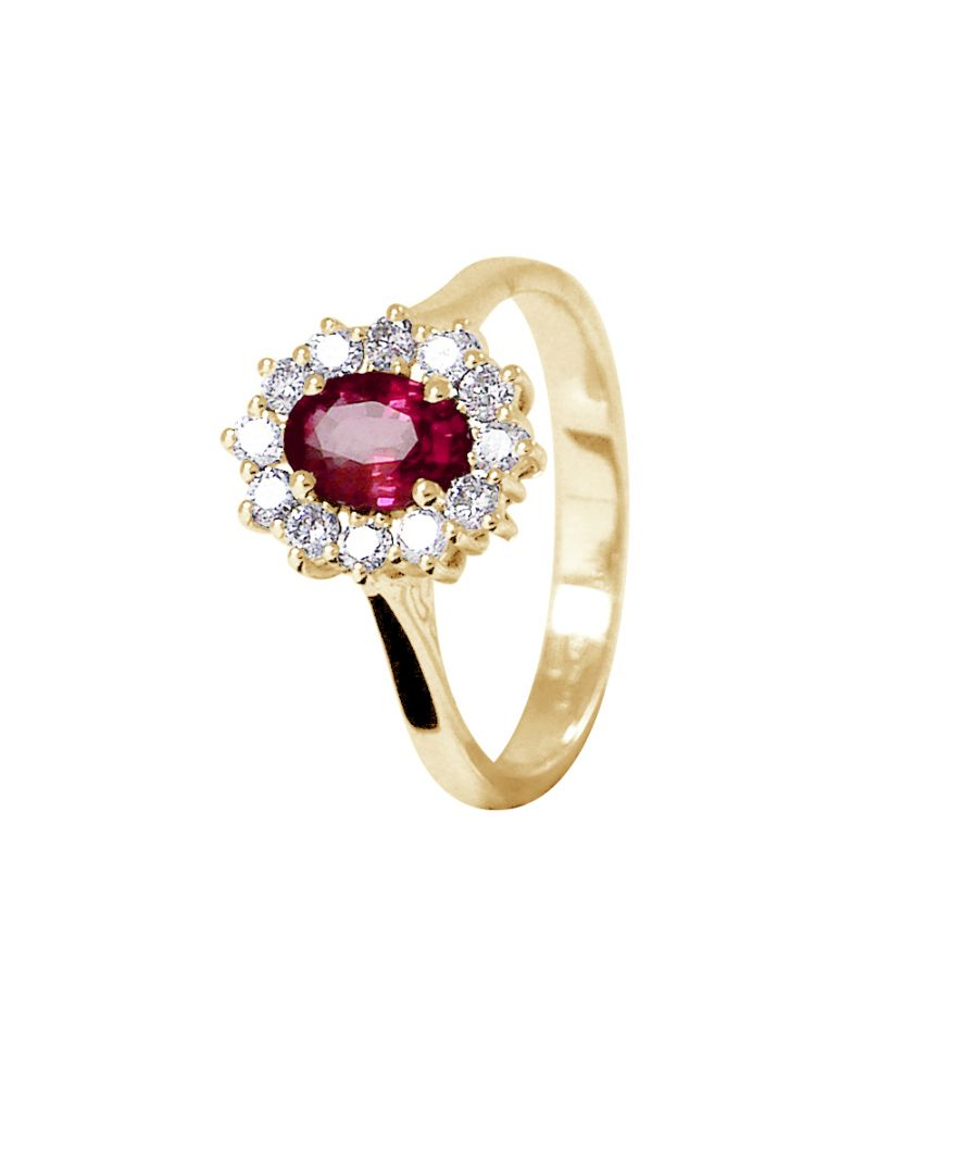 Image for DIADEMA - Ring - Ruby surrounded by Diamonds - Yellow Gold
