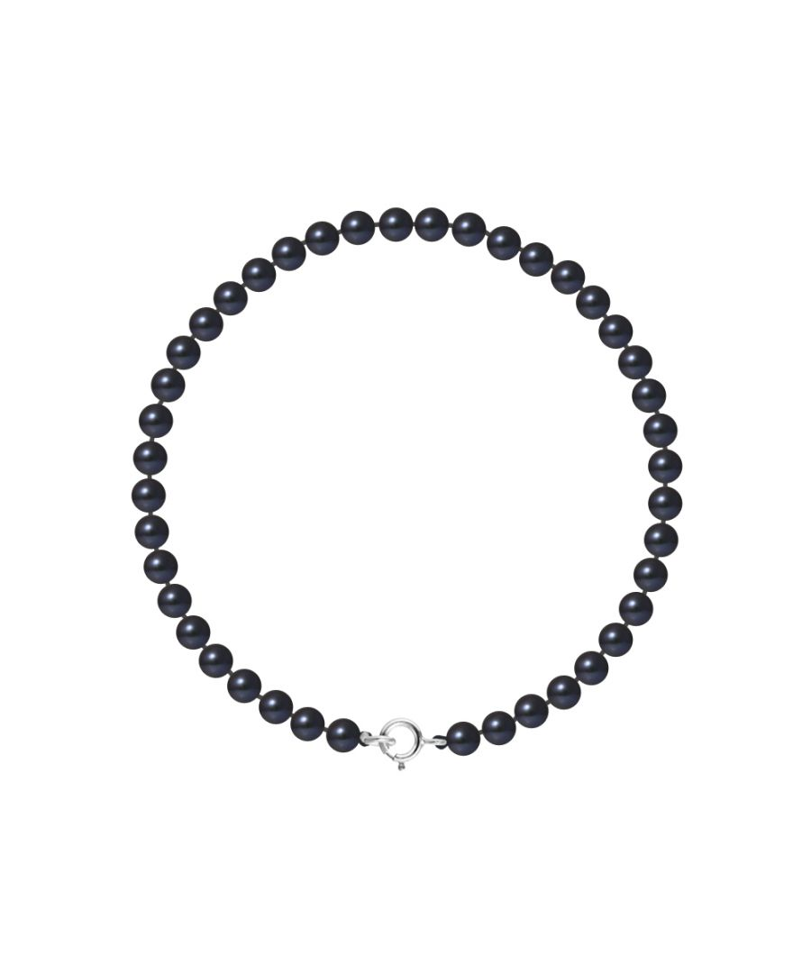 Image for DIADEMA - Bracelet - Real Freshwater Pearls - Black - White Gold