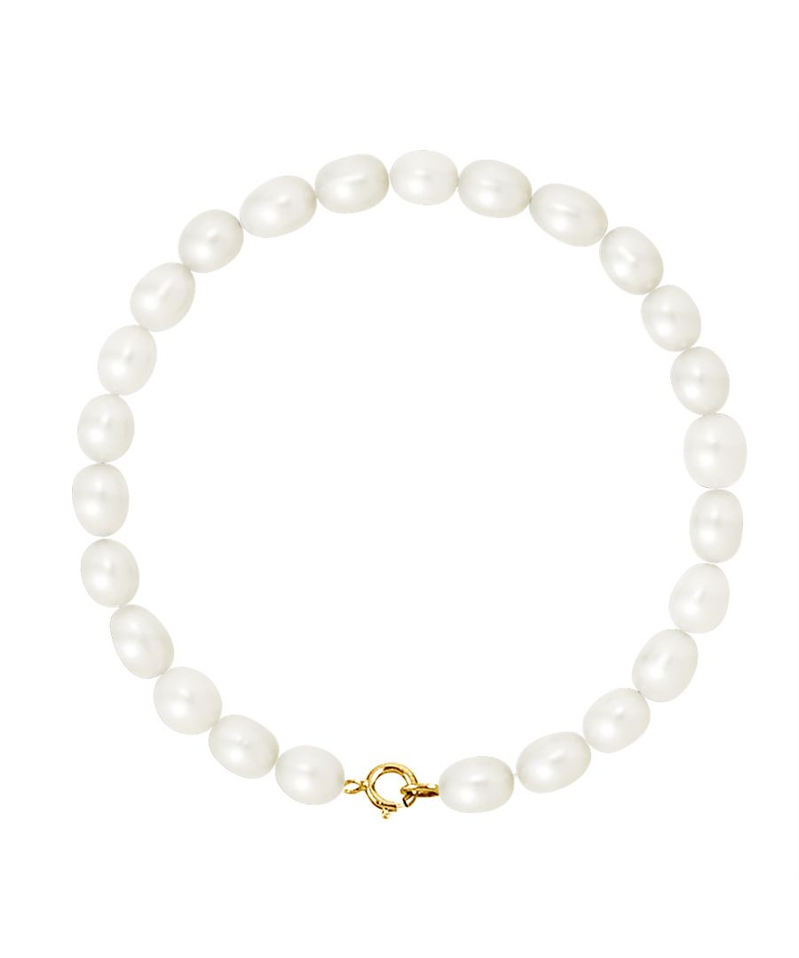 Image for DIADEMA - Bracelet - Real Freshwater Pearls - White - Yellow Gold