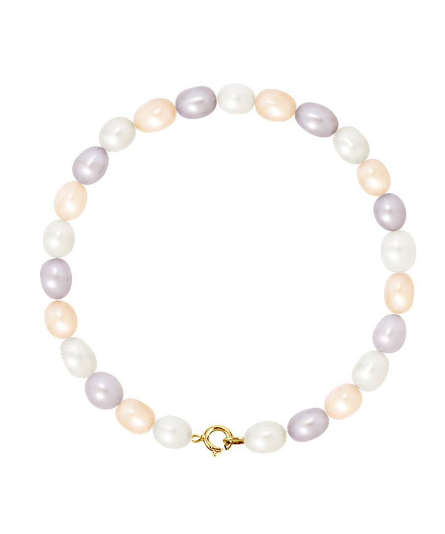 Image for DIADEMA - Bracelet - Real Freshwater Pearls - Pastel Multicolour - Yellow Gold