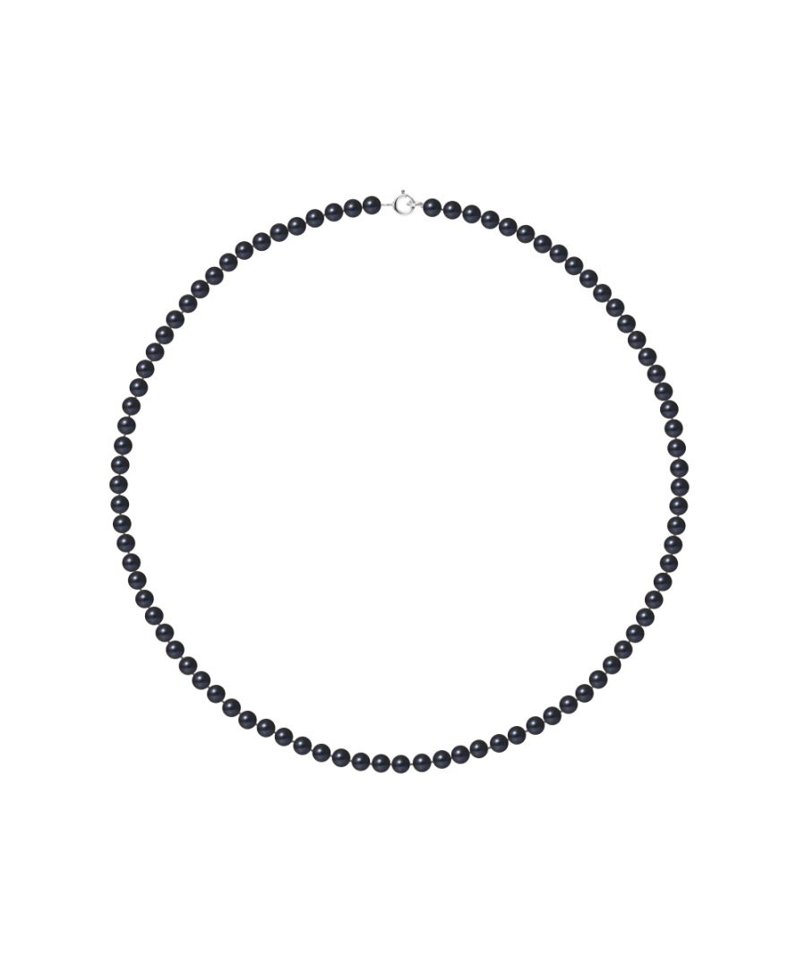 Image for DIADEMA - Necklace - Real Freshwater Pearls - Black - White Gold