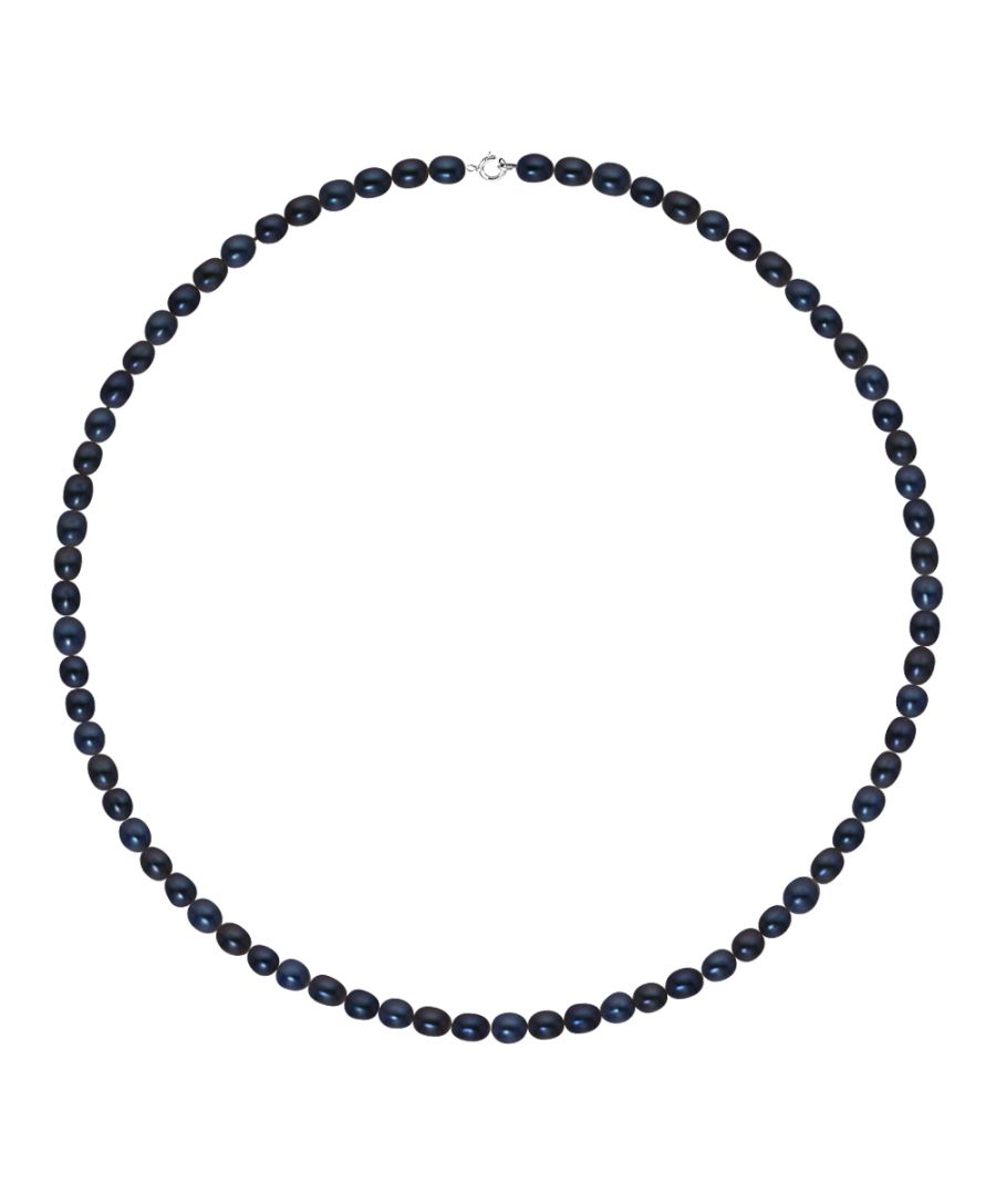 Image for DIADEMA - Necklace - Real Freshwater Pearls - White - Black- White Gold