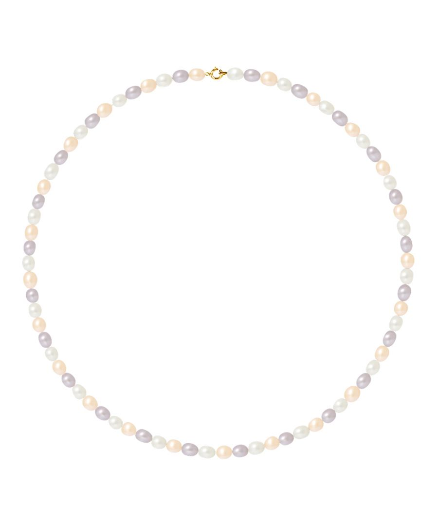 Image for DIADEMA - Necklace - Real Freshwater Pearls - Pastel Multicolour - Yellow Gold