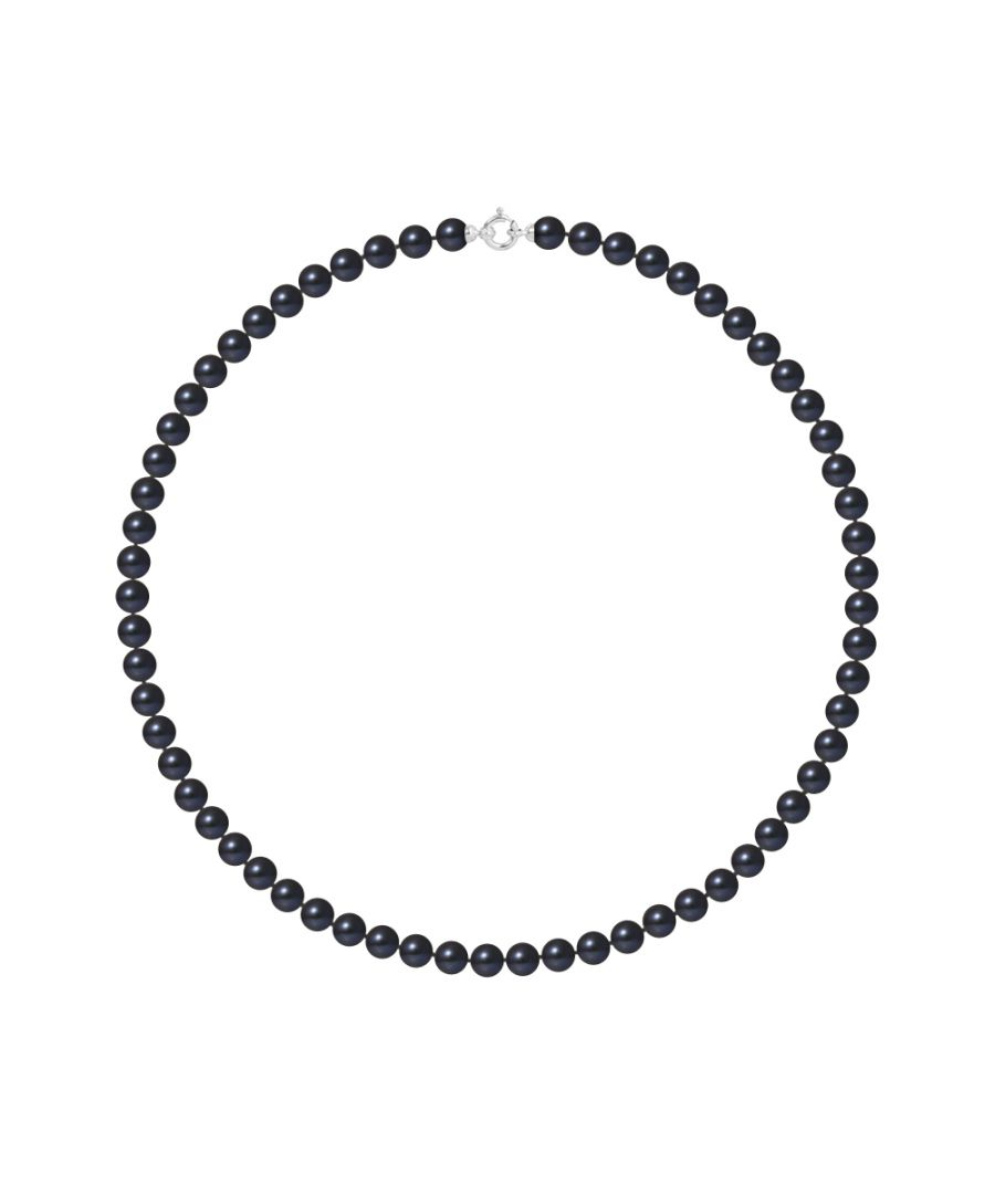 Image for DIADEMA - Necklace - Princess - Real Freshwater Pearls - Black Tahitian Style - White Gold