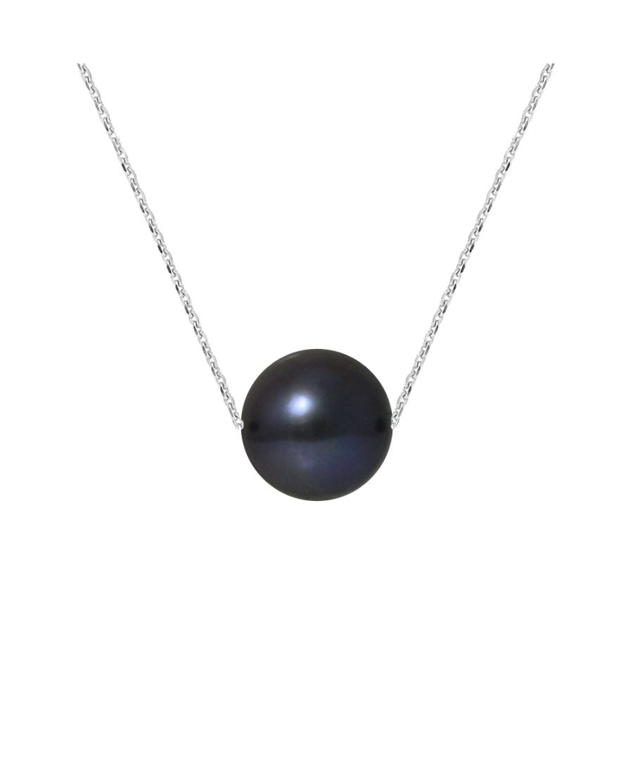 Image for DIADEMA - Necklace - Real Freshwater Pearls - Black Tahitian Style - Cable Chain in White Gold