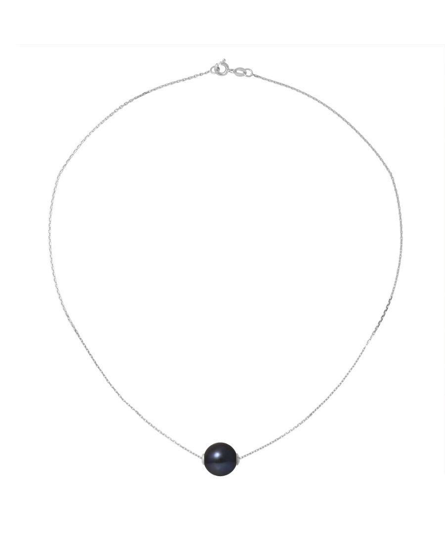Image for DIADEMA - Necklace - Silver and Real Freshwater Pearls - Black Tahitian Style