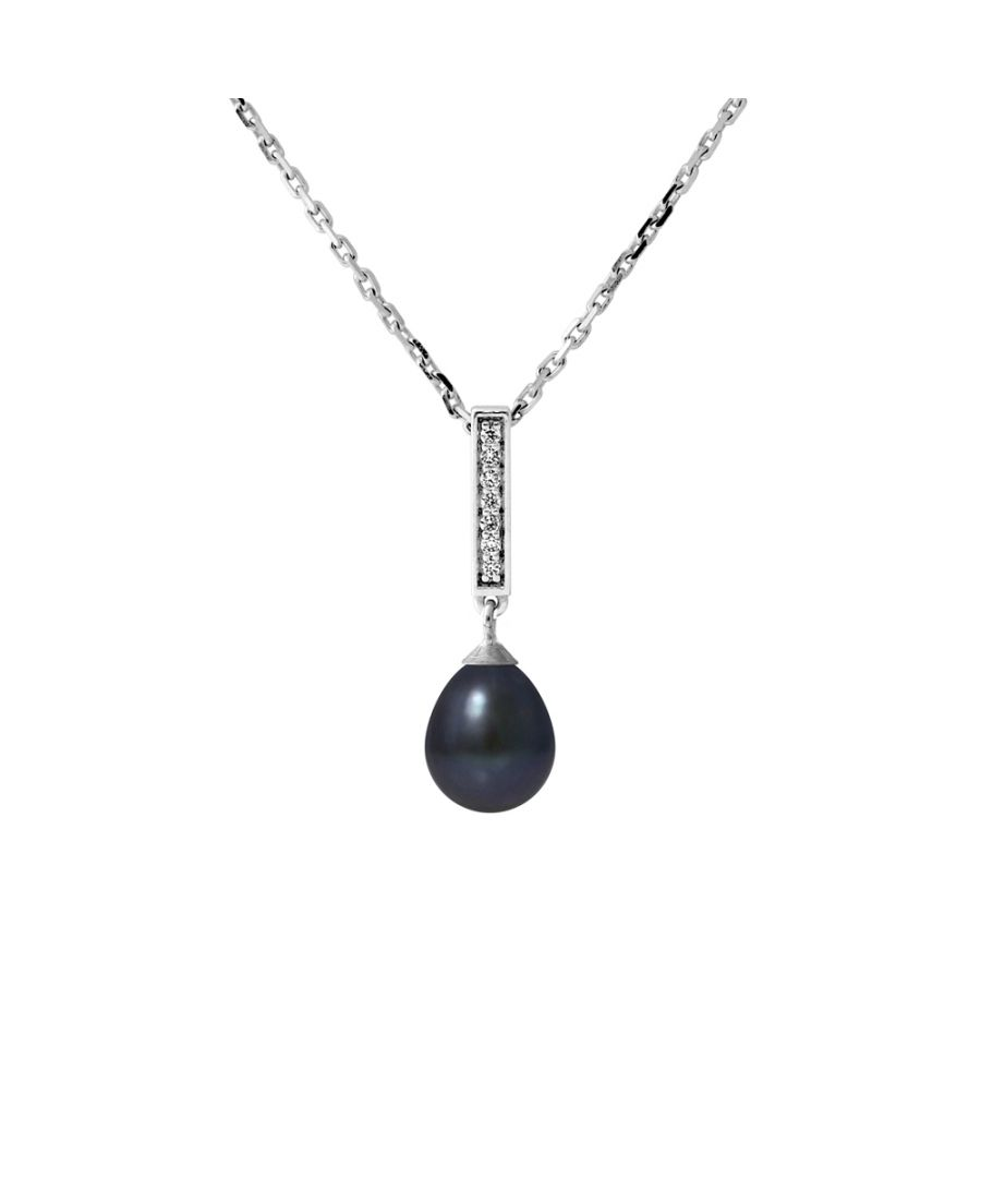 Image for DIADEMA - Necklace - Real Freshwater Pearls - Black Tahitian Style - Silver