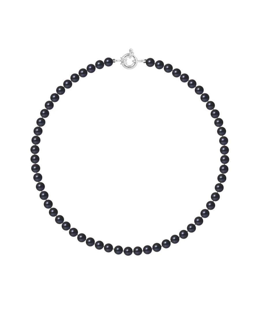 Image for DIADEMA - Necklace - Real Freshwater Pearls and - Black Tahitian Style - Silver
