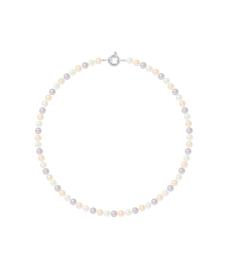 Image for DIADEMA - Necklace - Real Freshwater Pearls - Pastel Multicolour - Silver