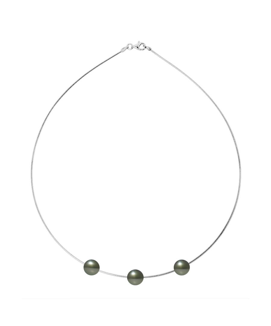 Image for DIADEMA - Necklace - Omega - Silver and 3 Real Tahitian Pearls