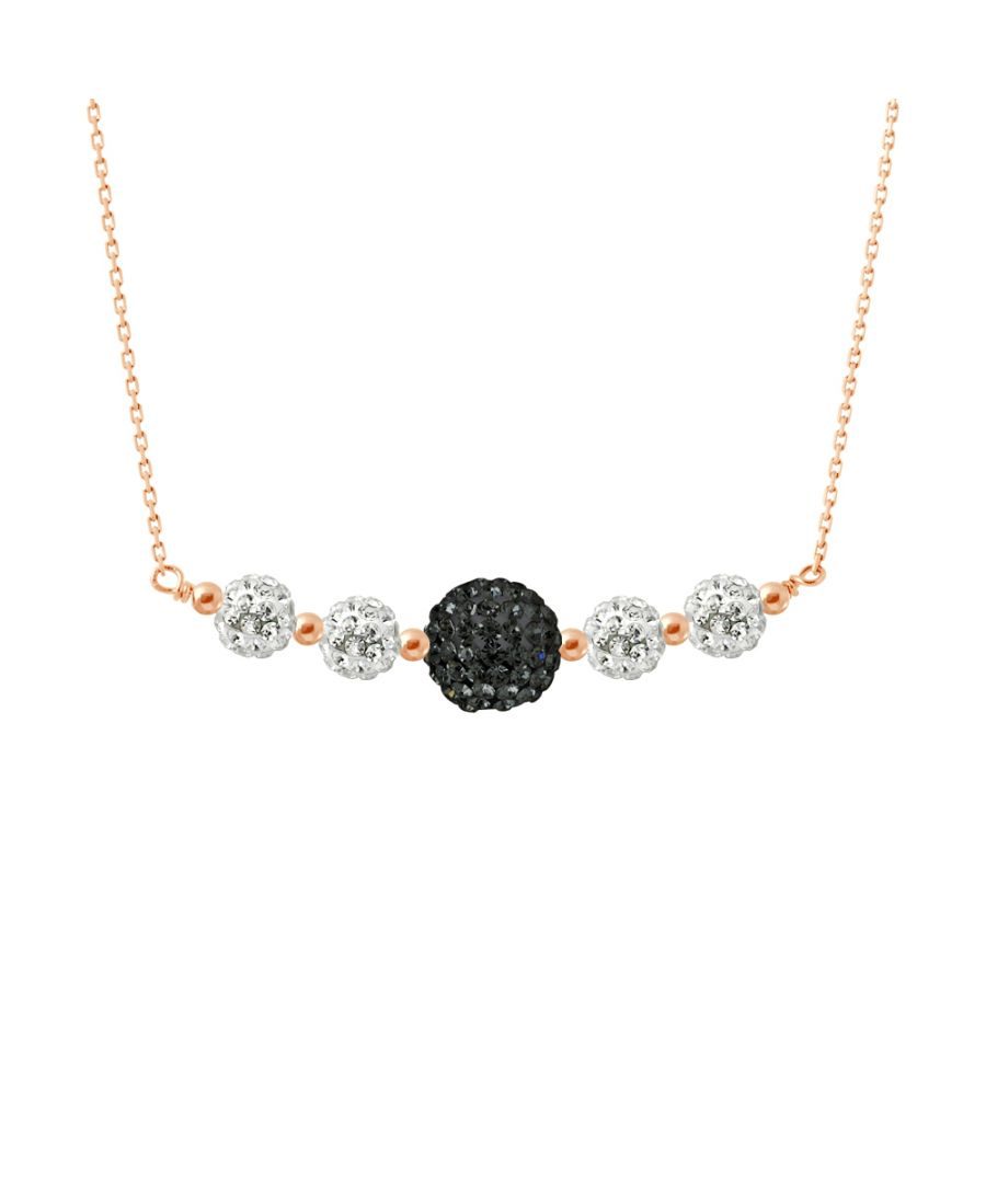 Image for DIADEMA - Necklace Pinky Gold - Crystal White & Black - Love Jewelry Collection