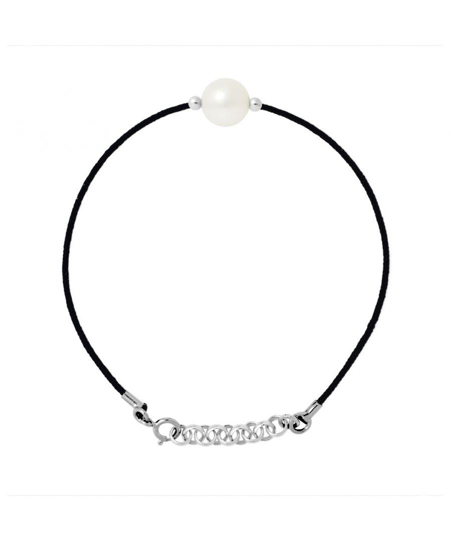 Image for DIADEMA - Bracelet - Black Nylon - Freshwater Pearl - White