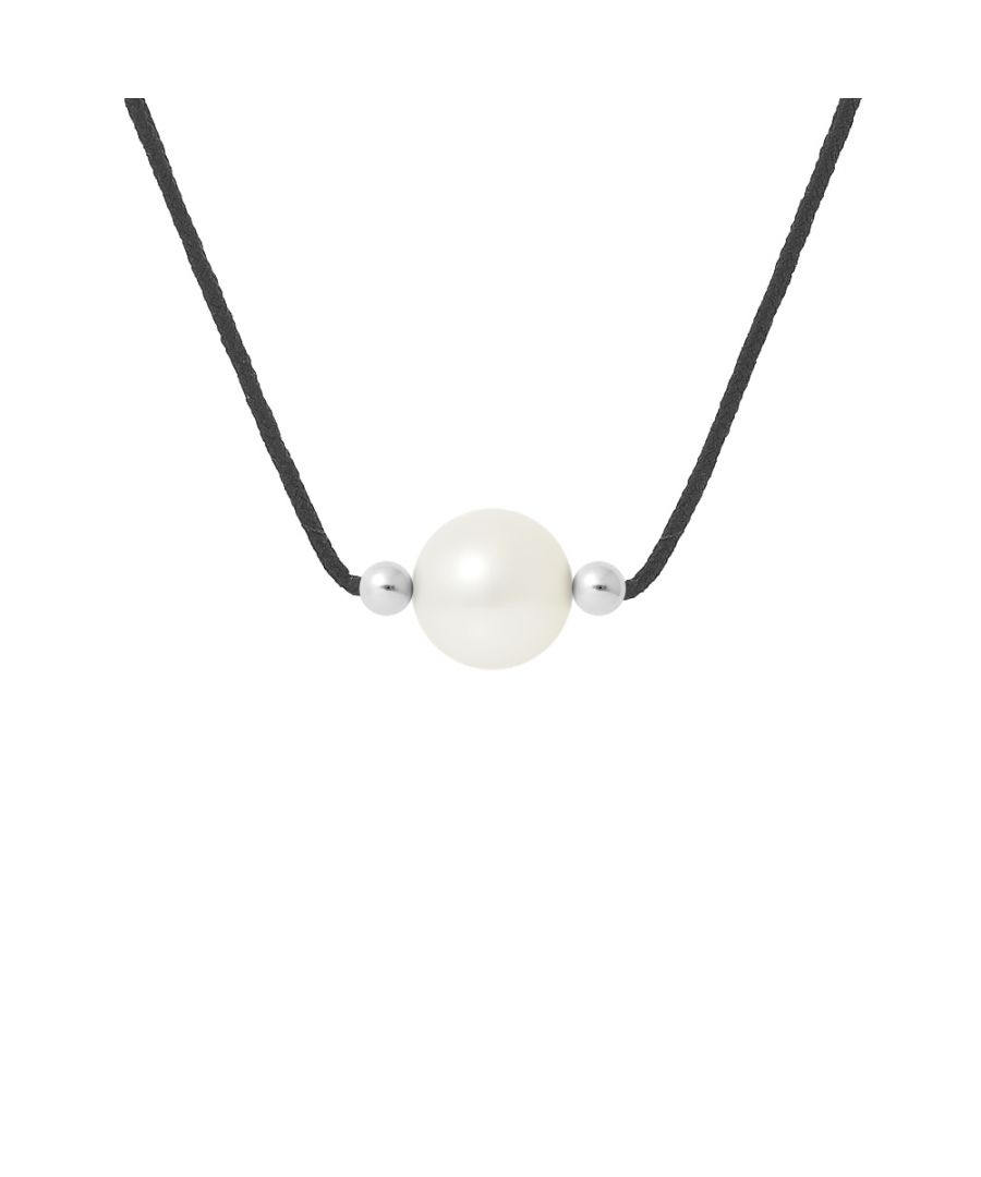 Image for DIADEMA - Necklace Black Nylon - Freshwater Pearl - White