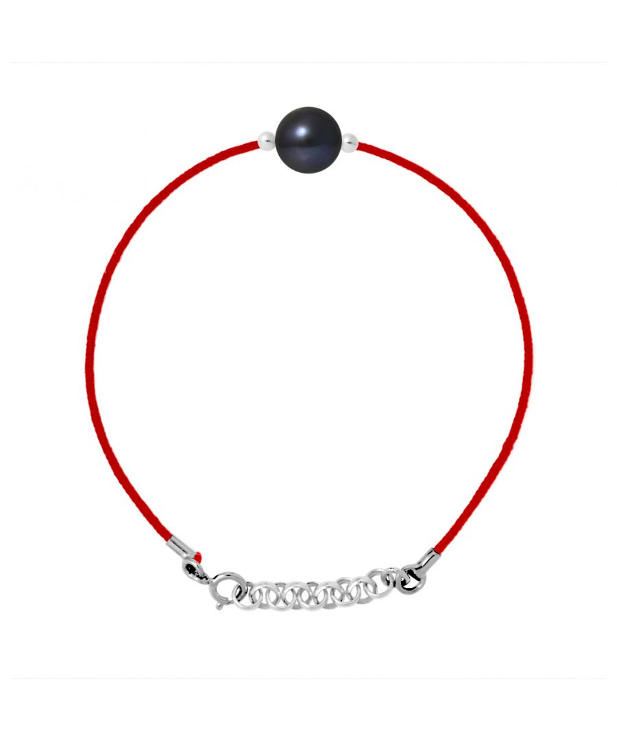 Image for DIADEMA - Bracelet - Red Nylon - Freshwater Pearl - Black Tahiti