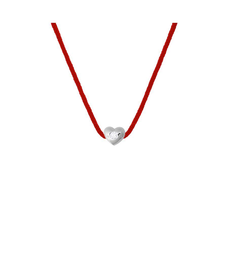 Image for DIADEMA - Necklace - Red Nylon - Heart - Real Diamond