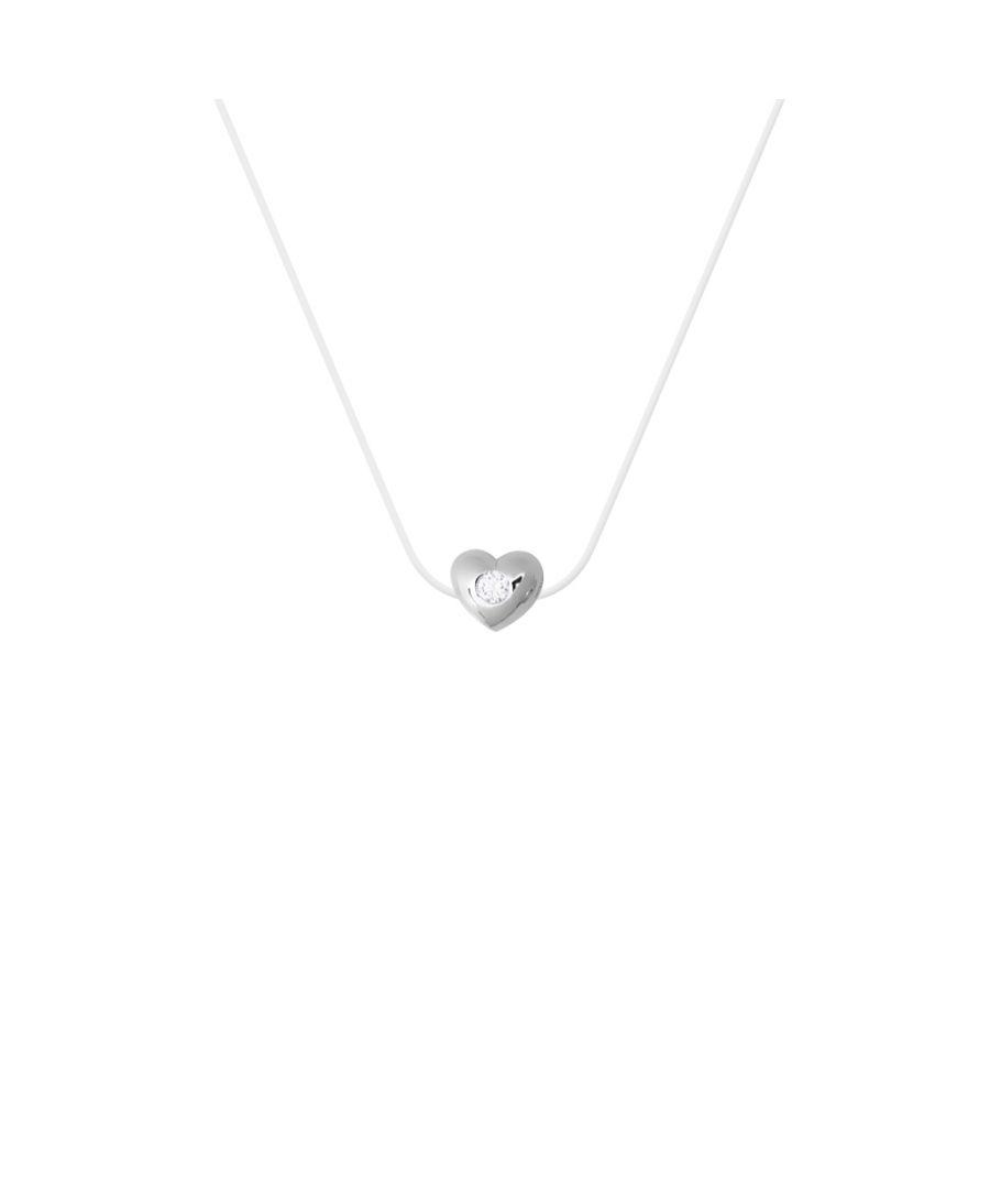 Image for DIADEMA - Necklace - Transparent Nylon - Heart - Real Diamond