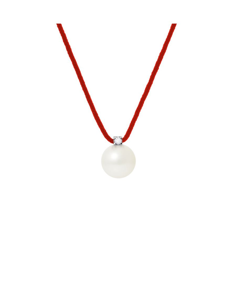 Image for DIADEMA - Necklace - Red Nylon - White Freshwater Pearl and Real Diamond
