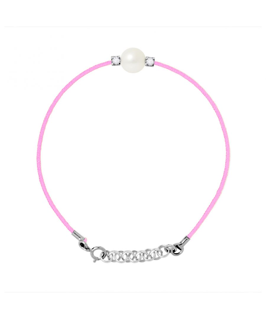 Image for DIADEMA - Bracelet - Pink Nylon - Freshwater Pearl - Diamonds