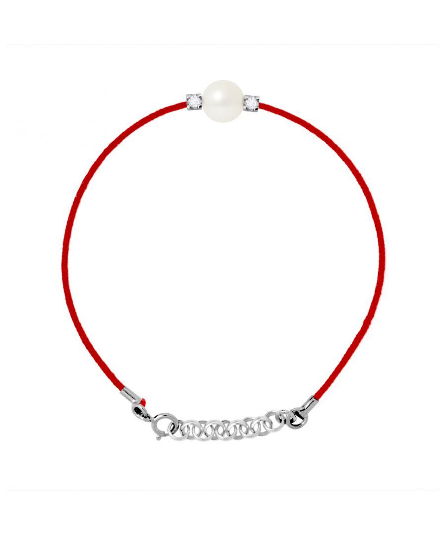 Image for DIADEMA - Bracelet - Red Nylon - White Freshwater Pearl - Diamonds