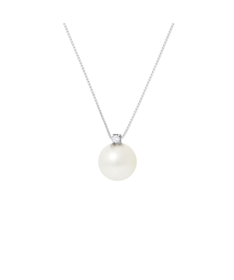 Image for DIADEMA - Necklace - Silver - White Freshwater Pearl and Real Diamond