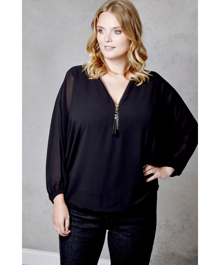 Image for Batwing Zip Detail Top