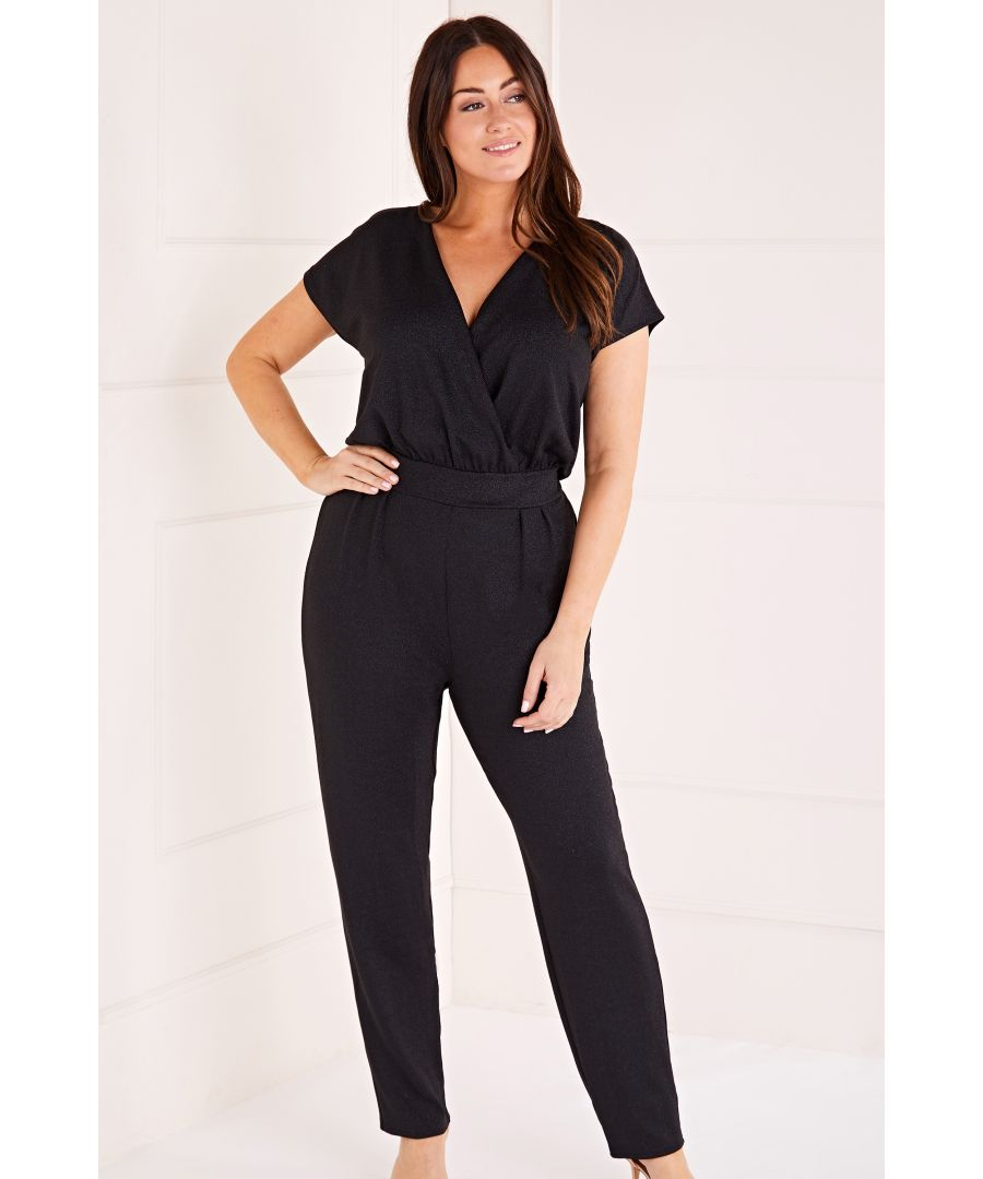 Image for Capped Sleeve Sparkle Jumpsuit