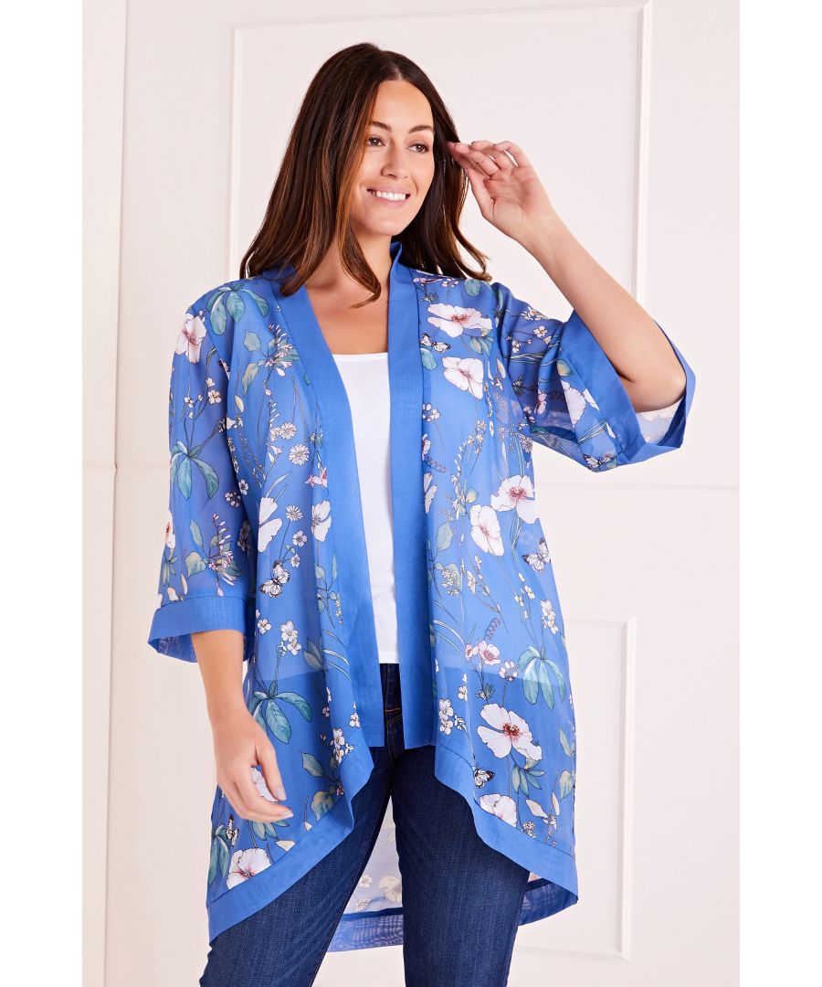 Image for Tropical Print Long Kimono