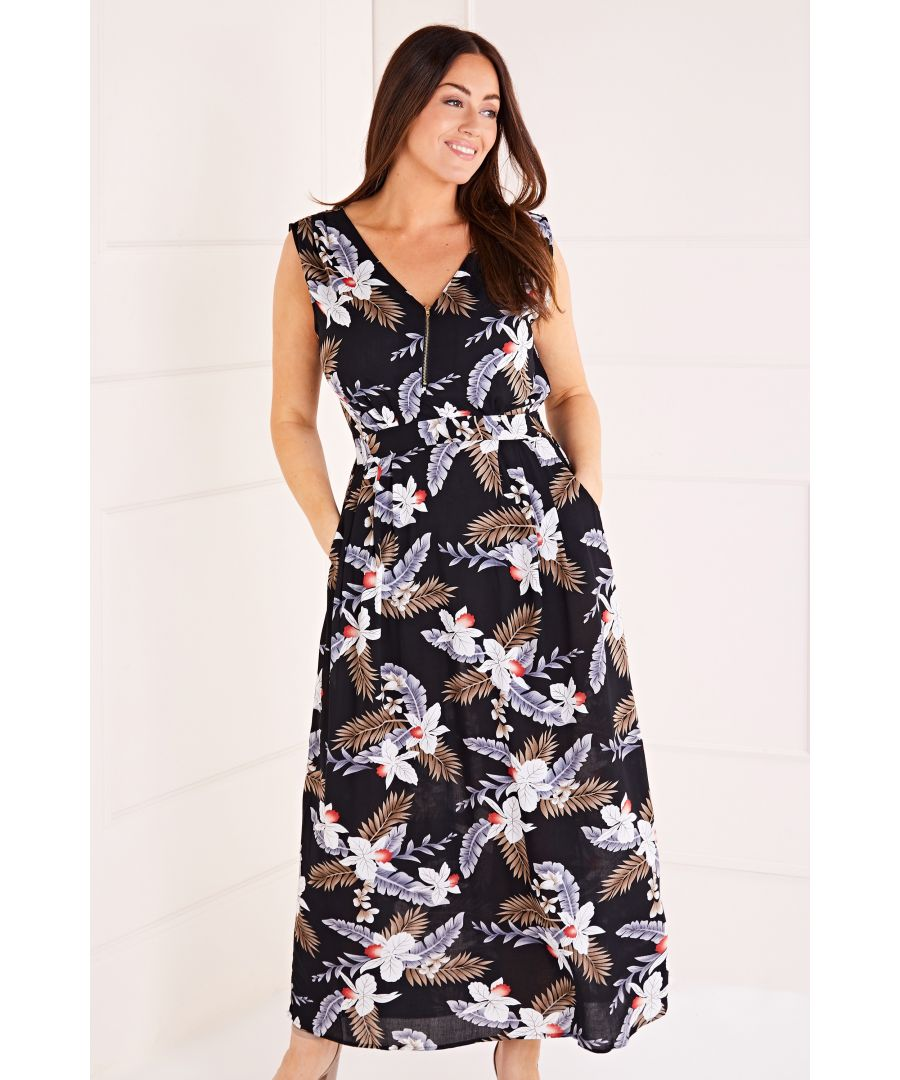 Image for Tropical Print Zip Up Maxi Dress
