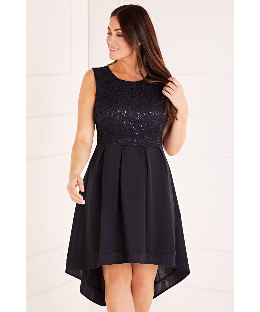 Image for Sequin Lace Top High Low Dress