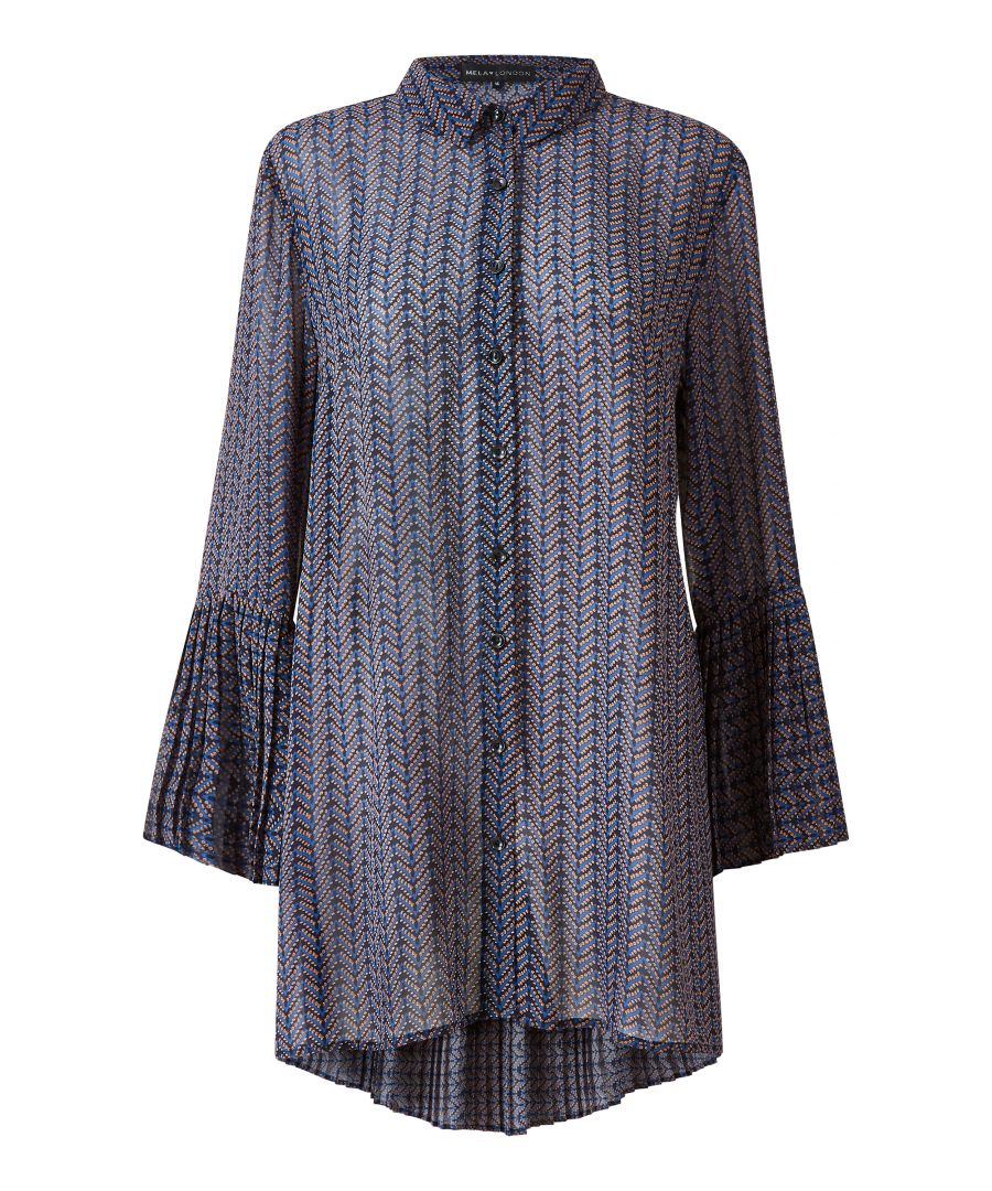 Image for Navy Geometric Print Tunic With Fluted