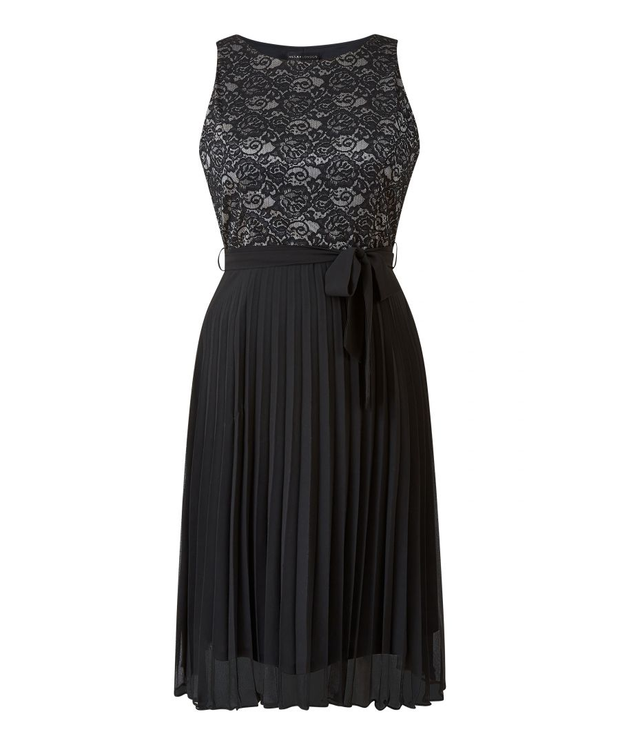 Image for Black Lace Skater Dress With Woven Skirt