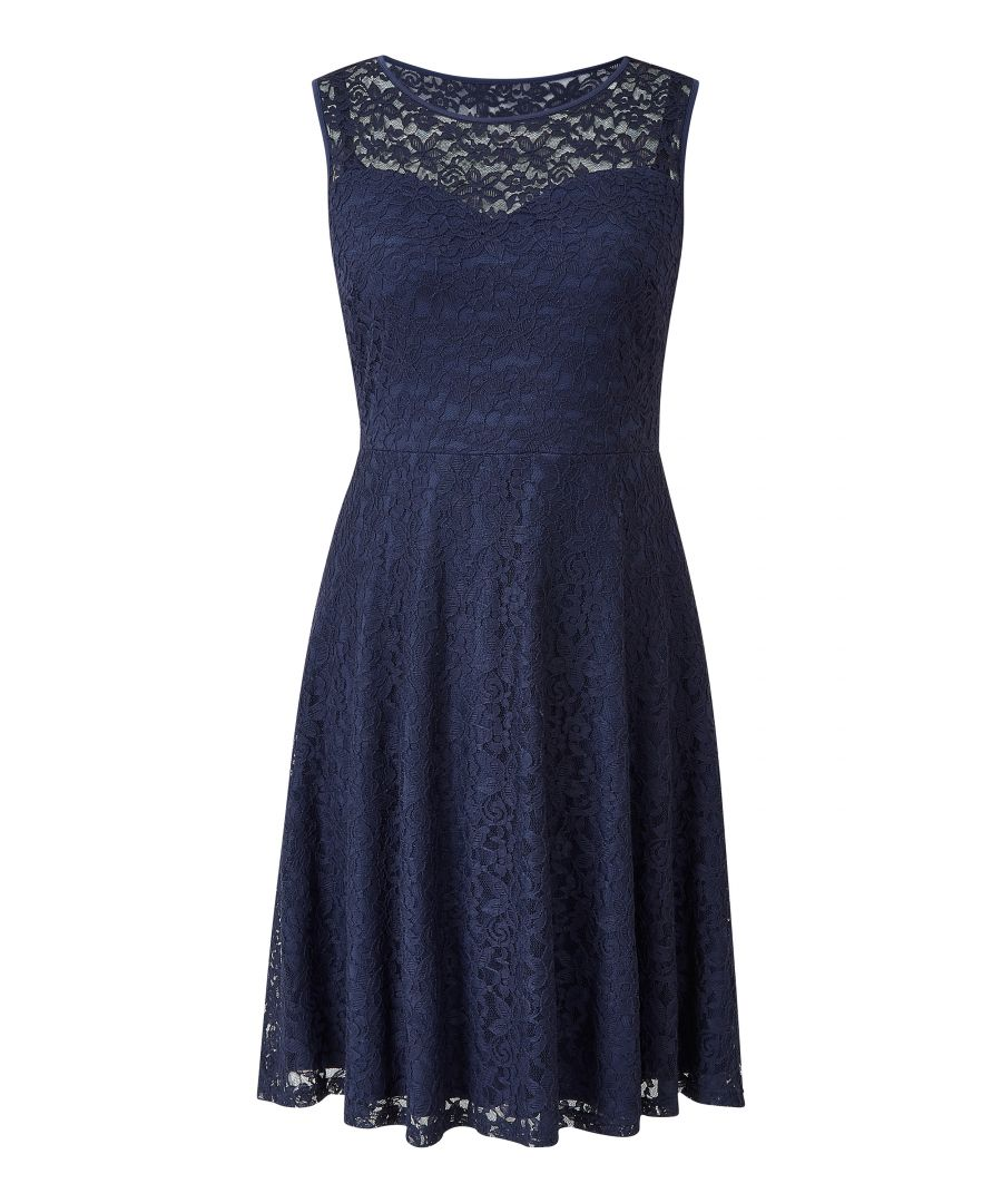 Image for Navy Skater Lace Dress