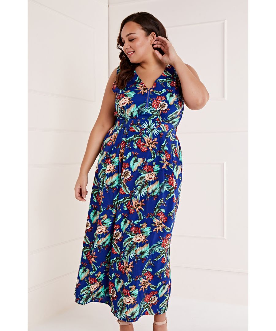 Image for Zip Detail Tropical Maxi Dress