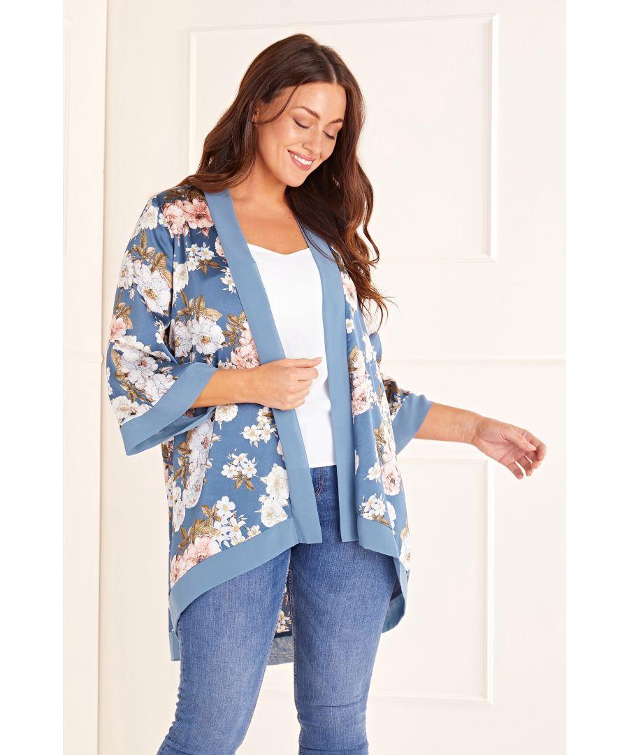 Image for Floral Satin Long Length Kimono
