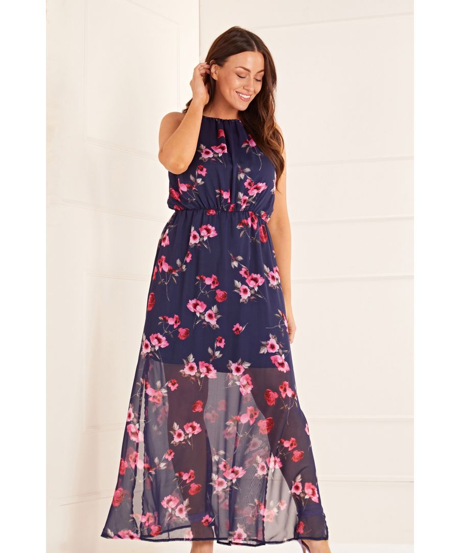 Image for Floral High Neck Maxi Dress