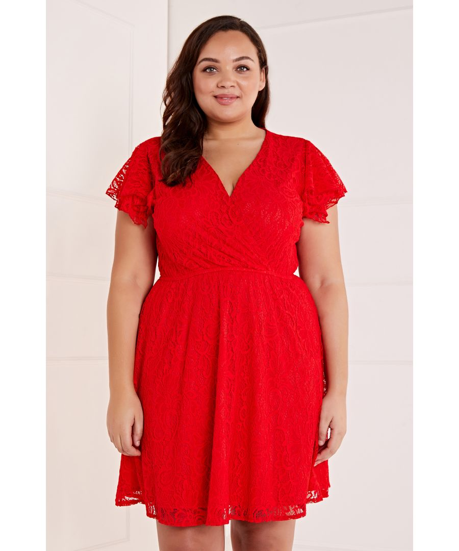 Image for Wrap Front Lace Skater Dress