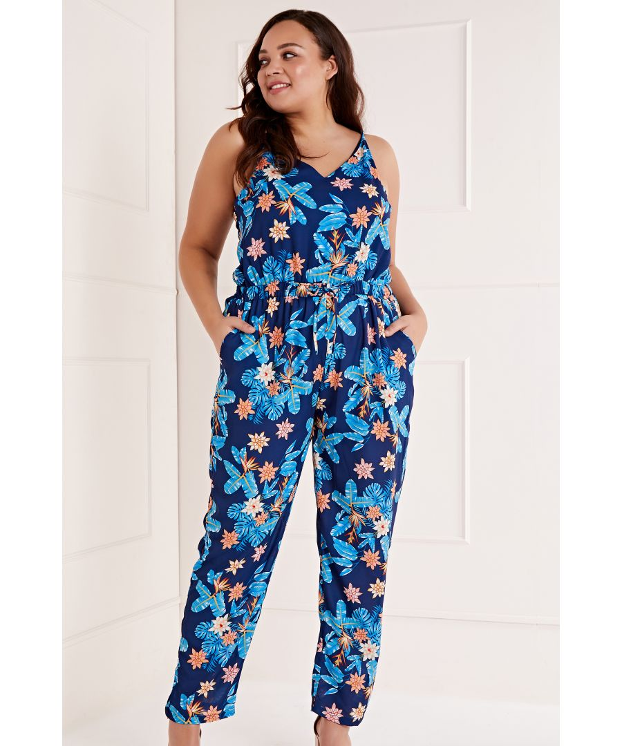 Image for Tropical Printed Drawstring Jumpsuit