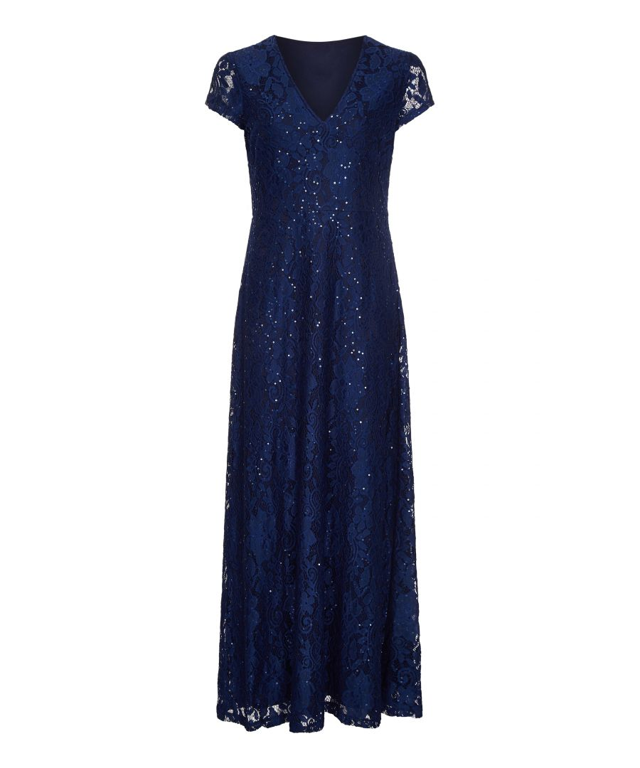 Image for Sequin Detailed V Neck Lace Maxi Dress