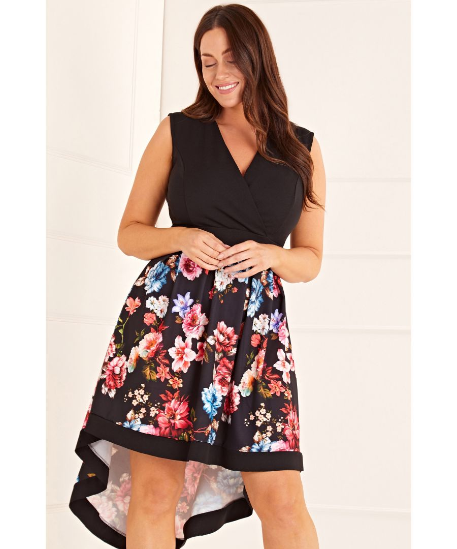 Image for Floral Two Tone Wrap Front High Low Dres